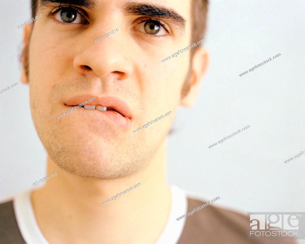 Stock Photo: Worried looking man.