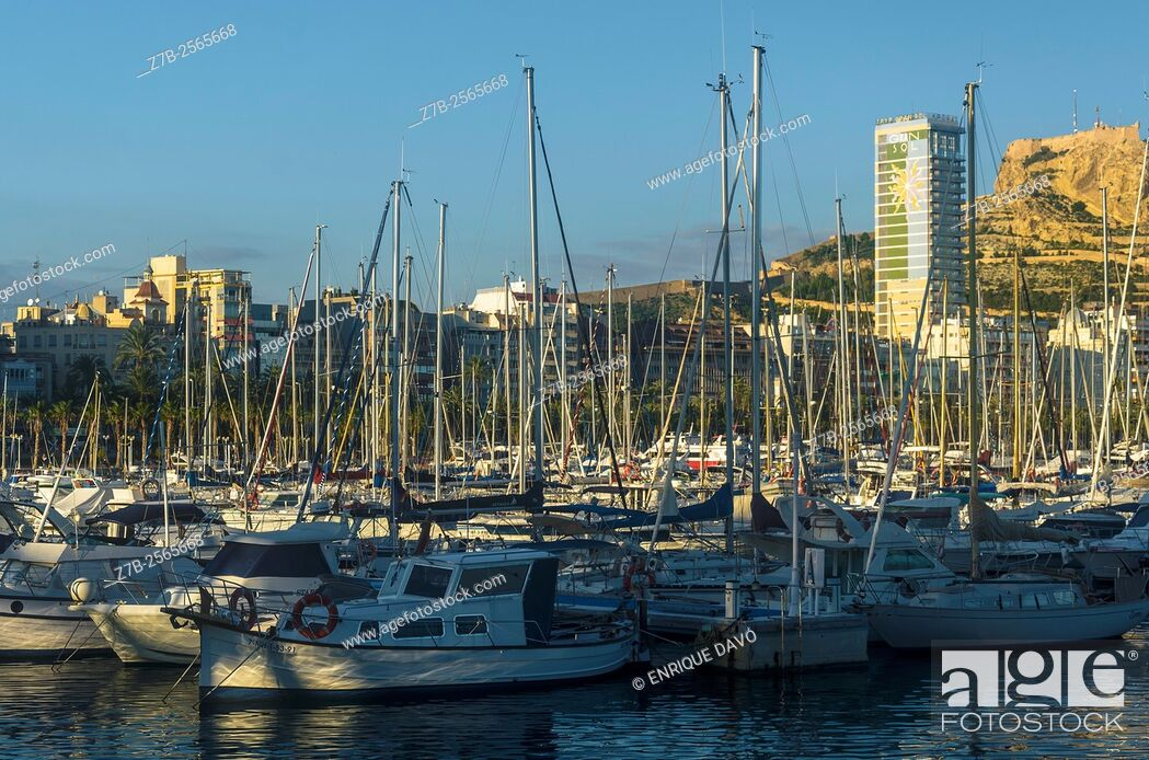 Stock Photo: An evening view in the maritime port of Alicante, Spain.