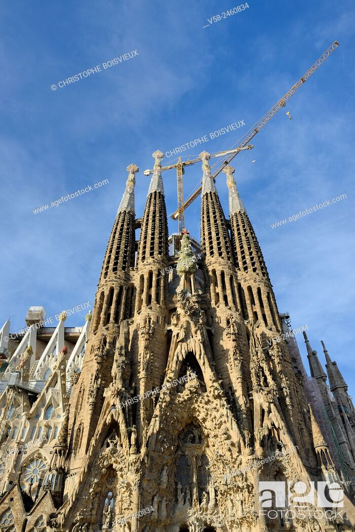 Stock Photo: Spain, Catalonia, Barcelona, World Heritage Site, Basilica of the Sagrada Familia, Nativity façade.