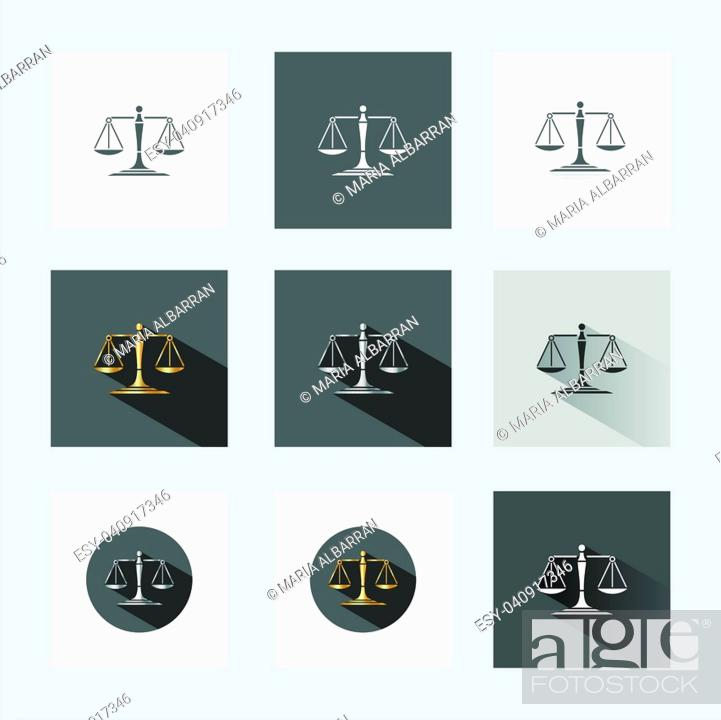 Stock Vector: Scales of justice in different versions.