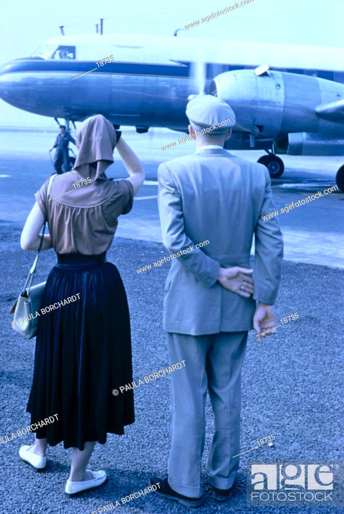 Stock Photo: Plane at Frankfurt airport. Germany (1955).