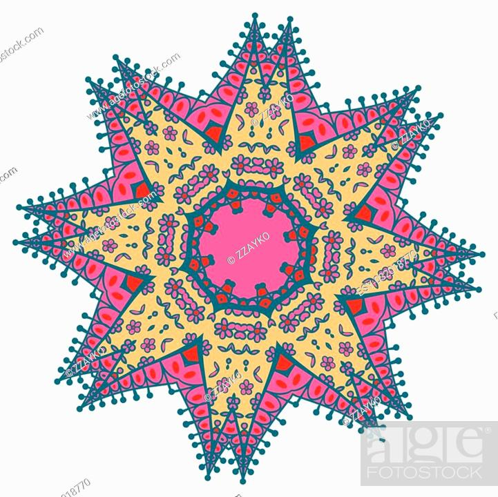 Stock Vector: Hand drawing zentangle color element. Flower mandala. Vector illustration. Holi festival colors. The best for your design, textiles, posters, tattoos.