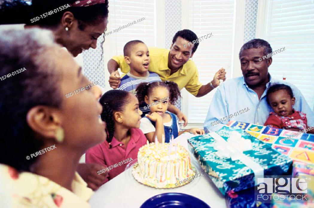 Stock Photo: Family celebrating a birthday.