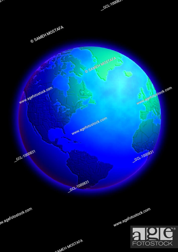 Stock Photo: Atlantic Ocean on Globe.