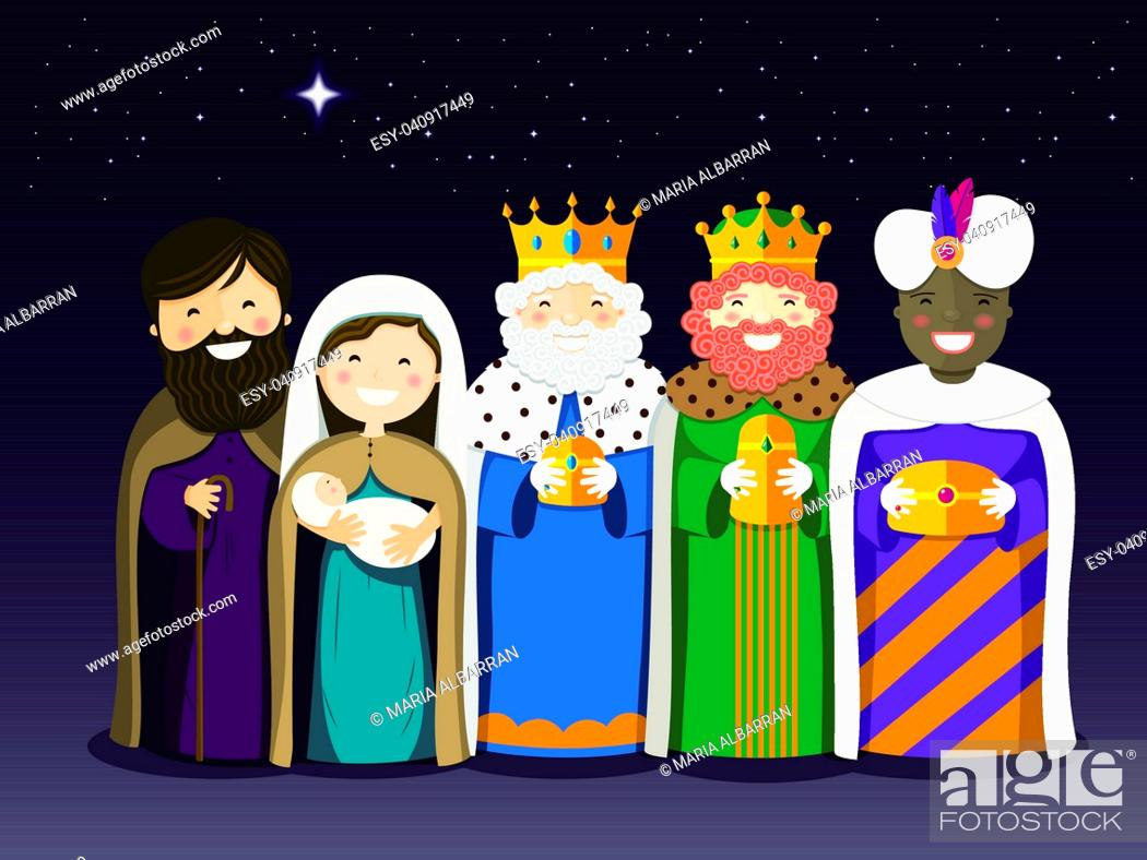 Vector: The Three Kings and Holy Family on the Epiphany day. Vector ilustration.