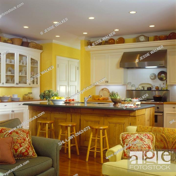 Kitchens View From Family Room Yellow Walls Custom Made White Cabinets Wood Floor Stock Photo Picture And Rights Managed Image Pic Shl Ljw1 2663 073 Agefotostock