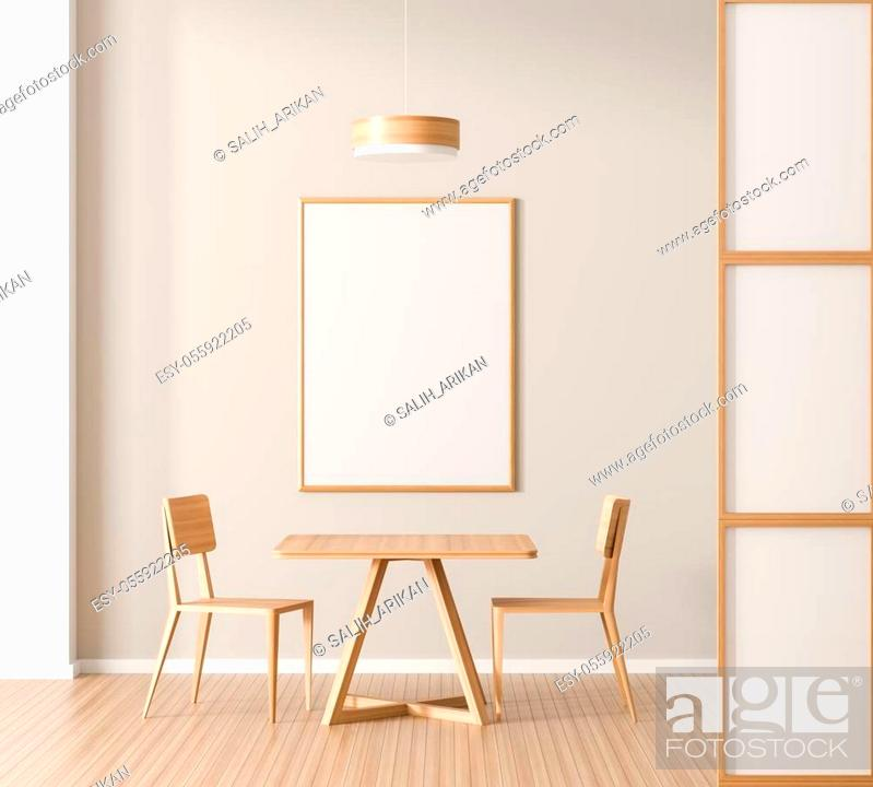 Stock Photo: Mock up poster frame in spacious modern dining room with wooden chair and table. Minimalist dining room design. 3D illustration.