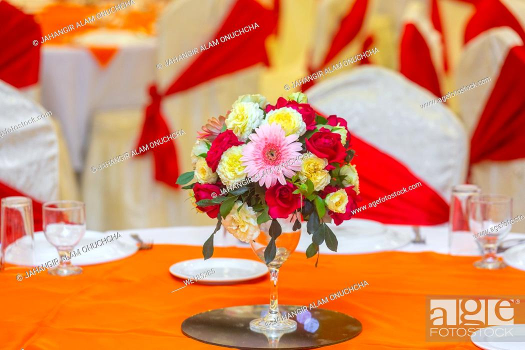 Stock Photo: Wedding program Table decoration in traditional wedding in Bangladesh.