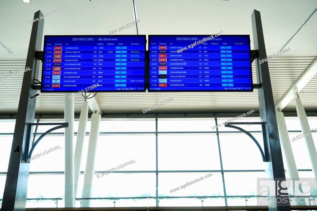 Stock Photo: Departure Sign Board, Phuket International Airport, Thailand, Asia.