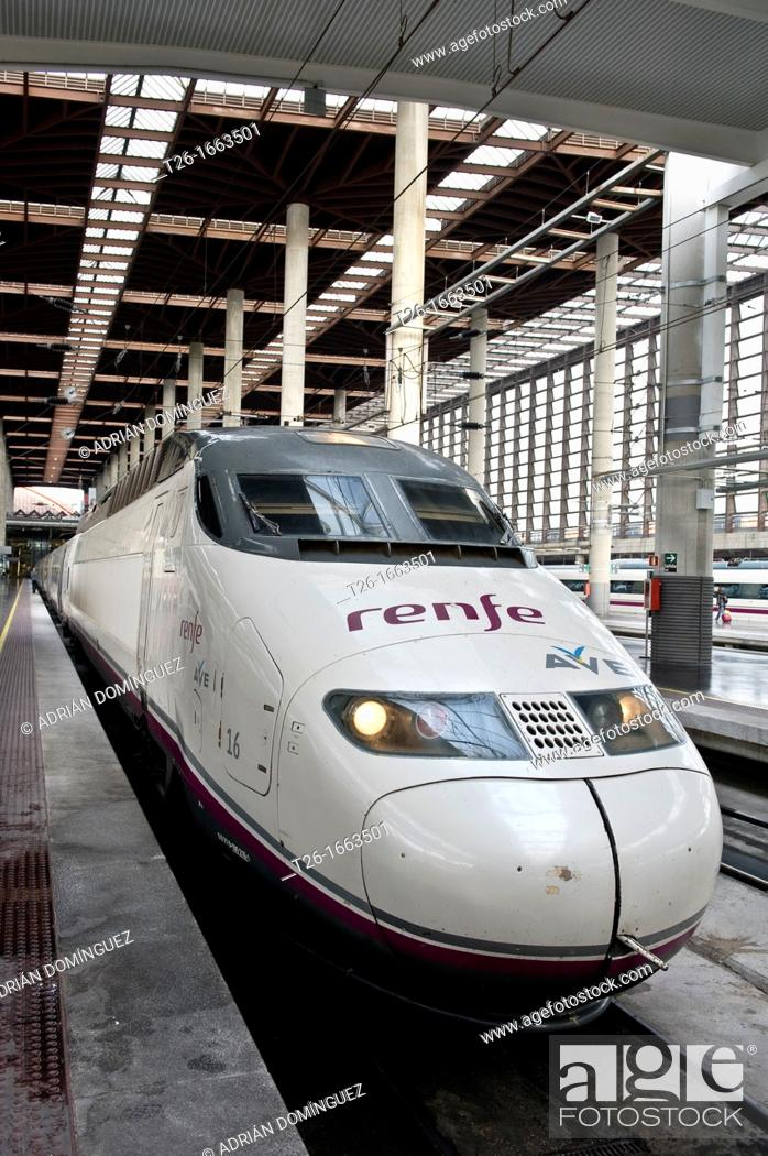 Stock Photo: A train in Atocha station in Madrid, Spain.