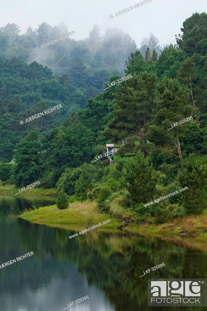 Stock Photo: Belesar Reservoir, Embalse de Belesar, and Rio Mino river, near Portomarin, Camino Frances, Way of St. James, Camino de Santiago, pilgrims way.