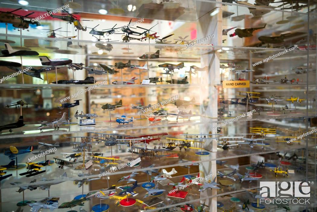 Stock Photo: USA, New York, Finger Lakes Region, Hammondsport, Glenn H, Curtiss Museum, dedicated to early US aviation pioneer and resident Glenn Curtiss, model aircraft.