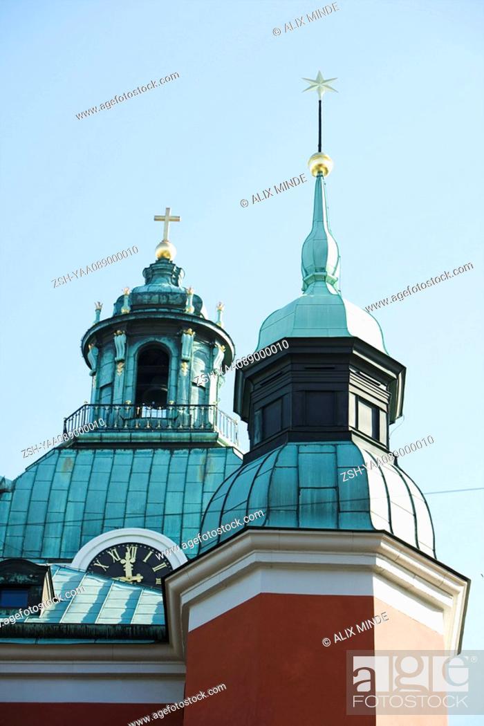 Stock Photo: Sweden, Stockholm, spires of Sankt Jakobs kyrka Saint James's church.