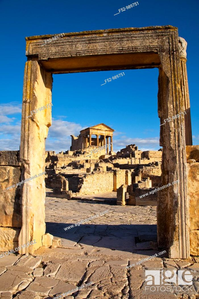 Stock Photo: Capitol. Roman City of Dougga. Tunisia. Africa.