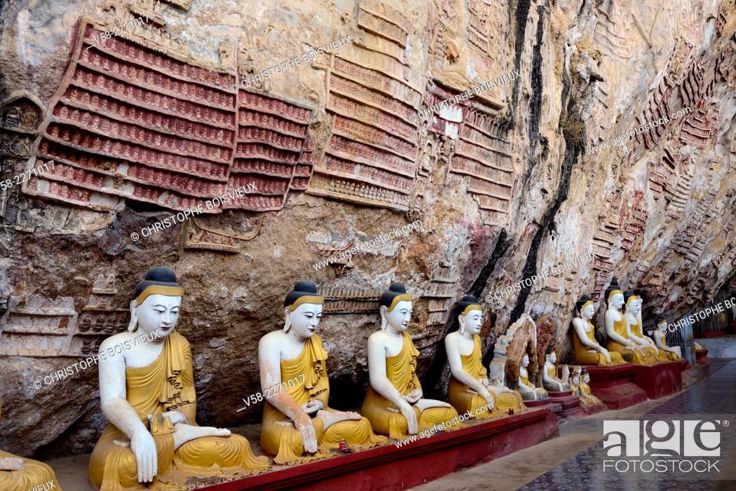 Stock Photo: Myanmar, Kayin (Karen) State, Hpa-An surroundings, Kawgun cave.