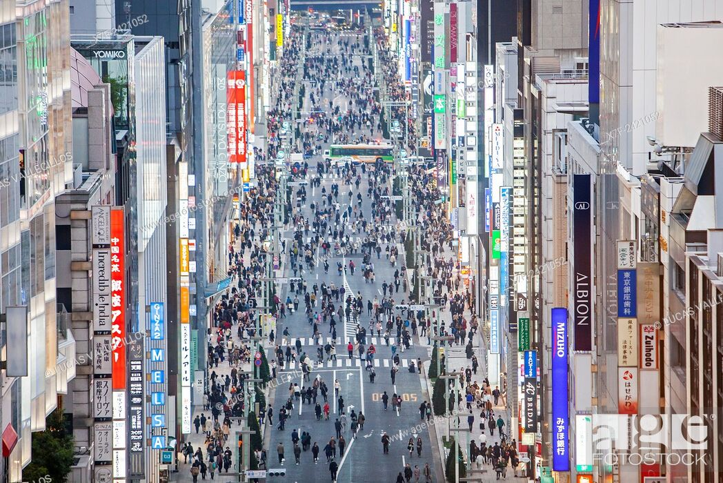 Stock Photo: Chuo street, Ginza, Tokyo, Japan.
