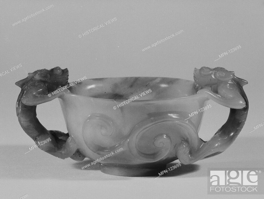 Stock Photo: Coupe. Date: late 19th century; Culture: China; Medium: Jade; Dimensions: H. 1 13/16 in. (4.6 cm); Gr. W. 4 3/16 in. (10.