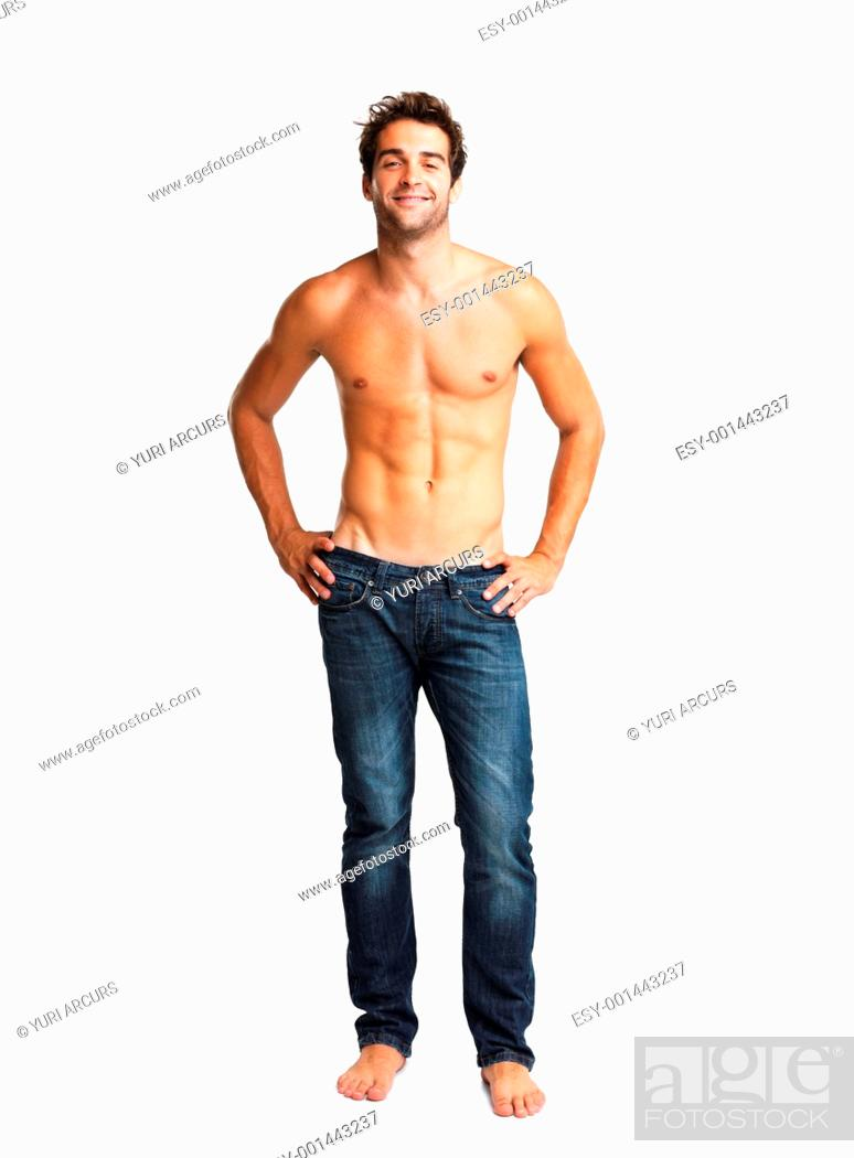 Stock Photo: Man smiling with his hands on hips.