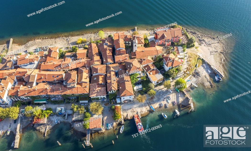 Stock Photo: Aerial view of Isola dei Pescatori on Lake Maggiore, Italy.