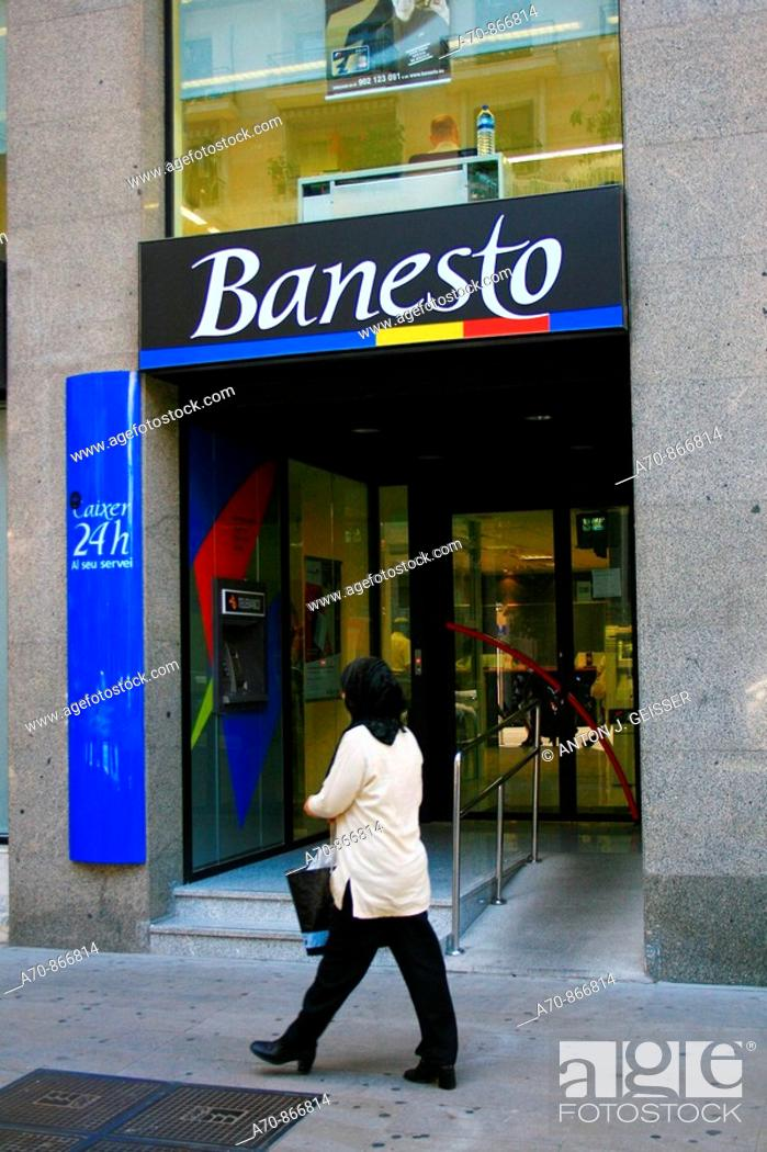 Stock Photo: Banesto bank, Majorca, Balearic Islands, Spain.