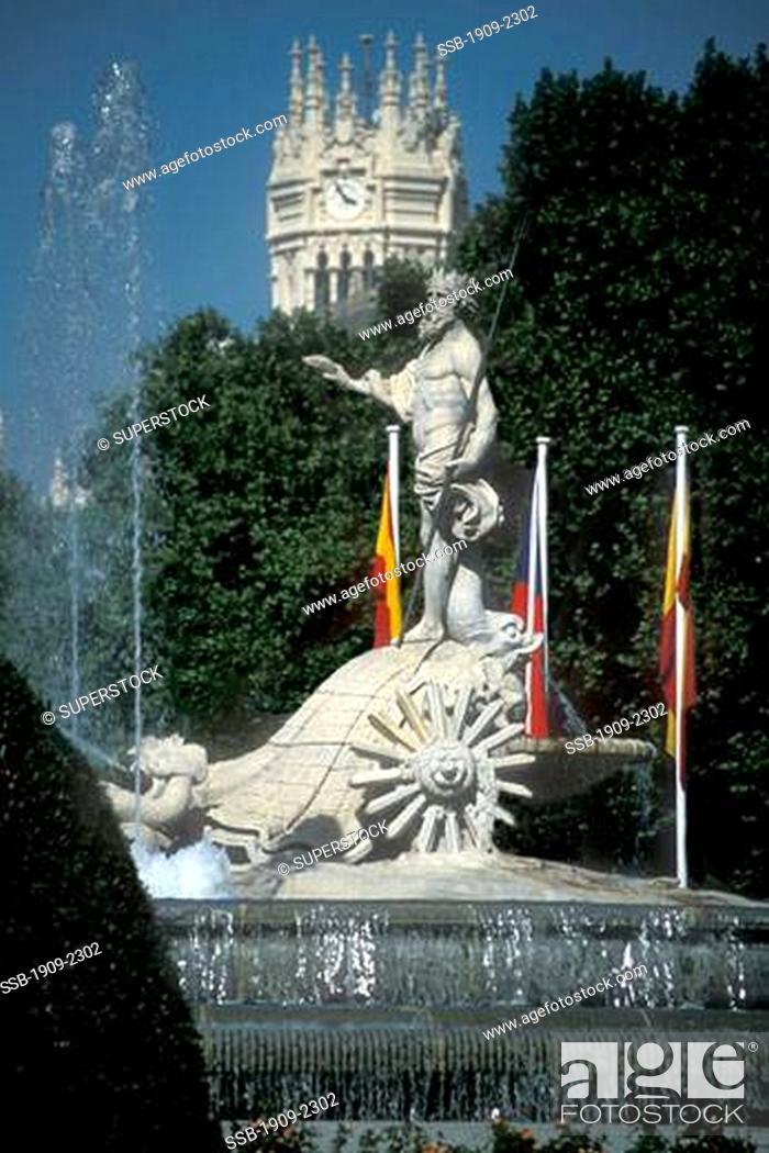 Madrid The Neptune Fountain In Plaza Canovas Del Castillo With The