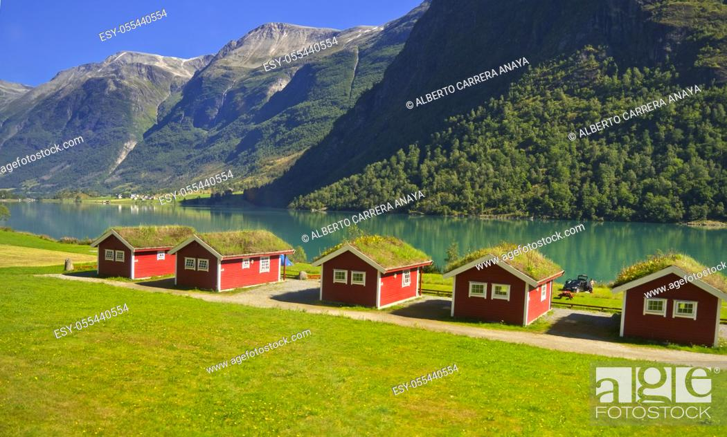 Stock Photo: Oldevatnet Lake, Oldedalen Valley, Jostedalsbreen National Park, Norway, Scandinavia, Europe.