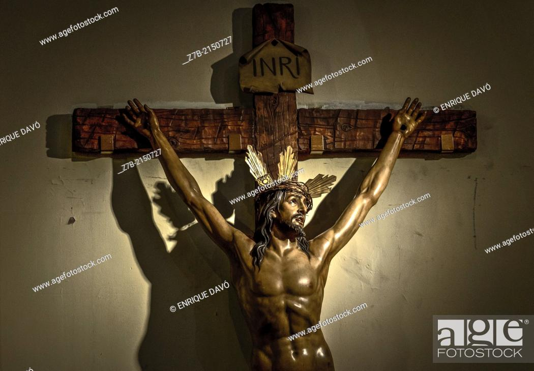 Stock Photo: View of a cross in the Almudena cathedral, madrid, Spain.