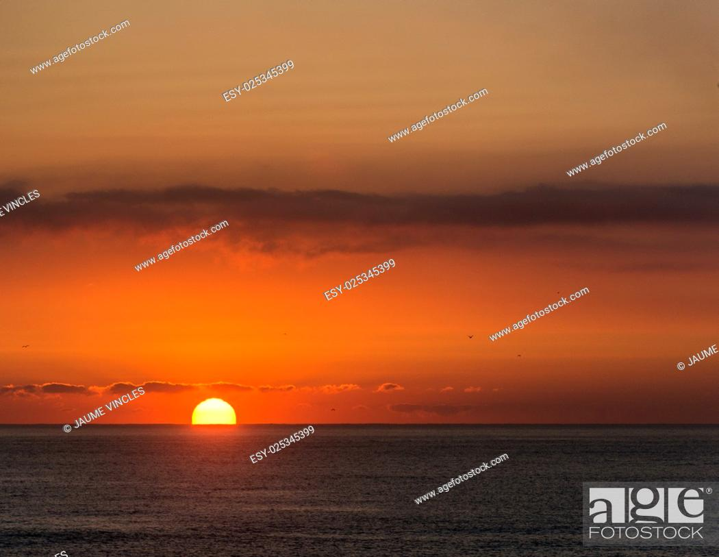 Stock Photo: Typical sunrise on the coast of Barcelona.