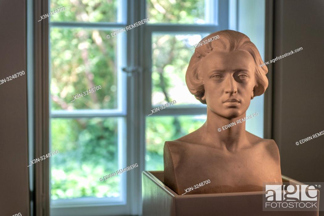 Imagen: Marble bust of Polish Composer and pianist Fryderyk Chopin against a window at the Fryderyk Chopin Museum. Zelazowa Wola, Masovian Voivodeship, Poland.