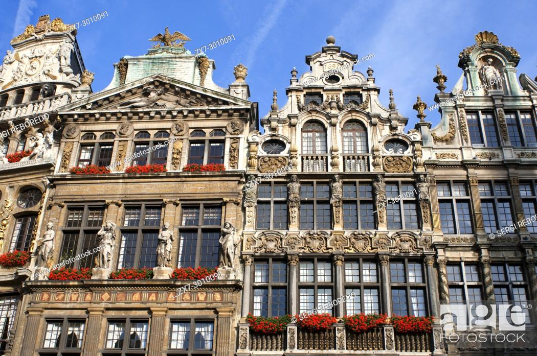Stock Photo: Background buildings Louve, Sac and Brouette. Grand Place, Brussels, Belgium. The Louve, Sac and Brouette are a group of houses that were not rebuilt in 1695.