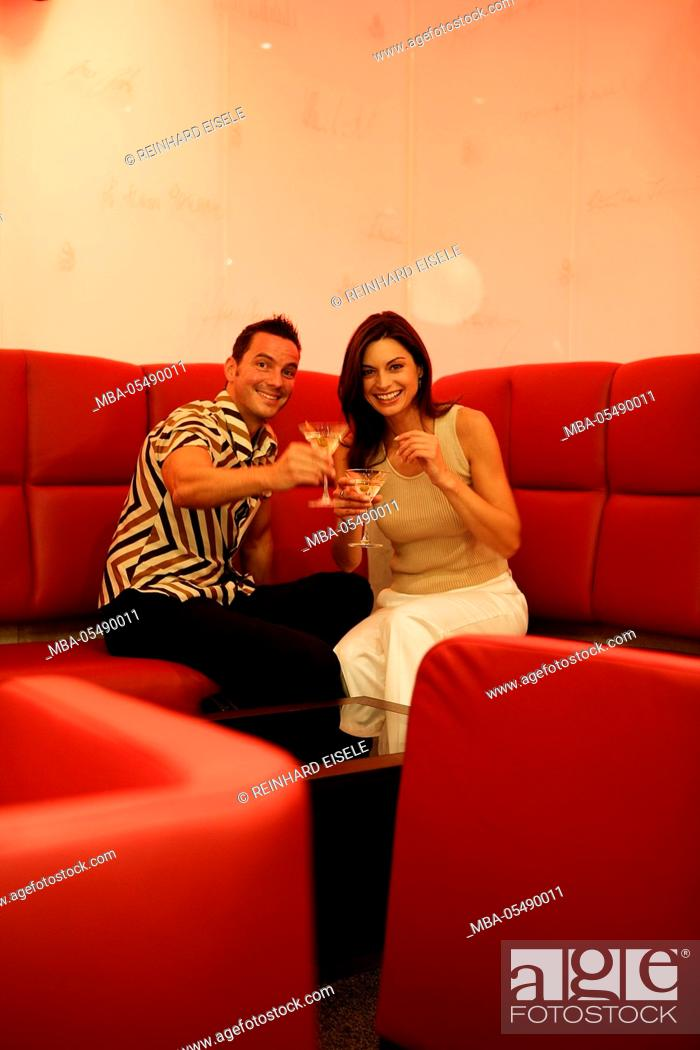 Stock Photo: couple with drinks.