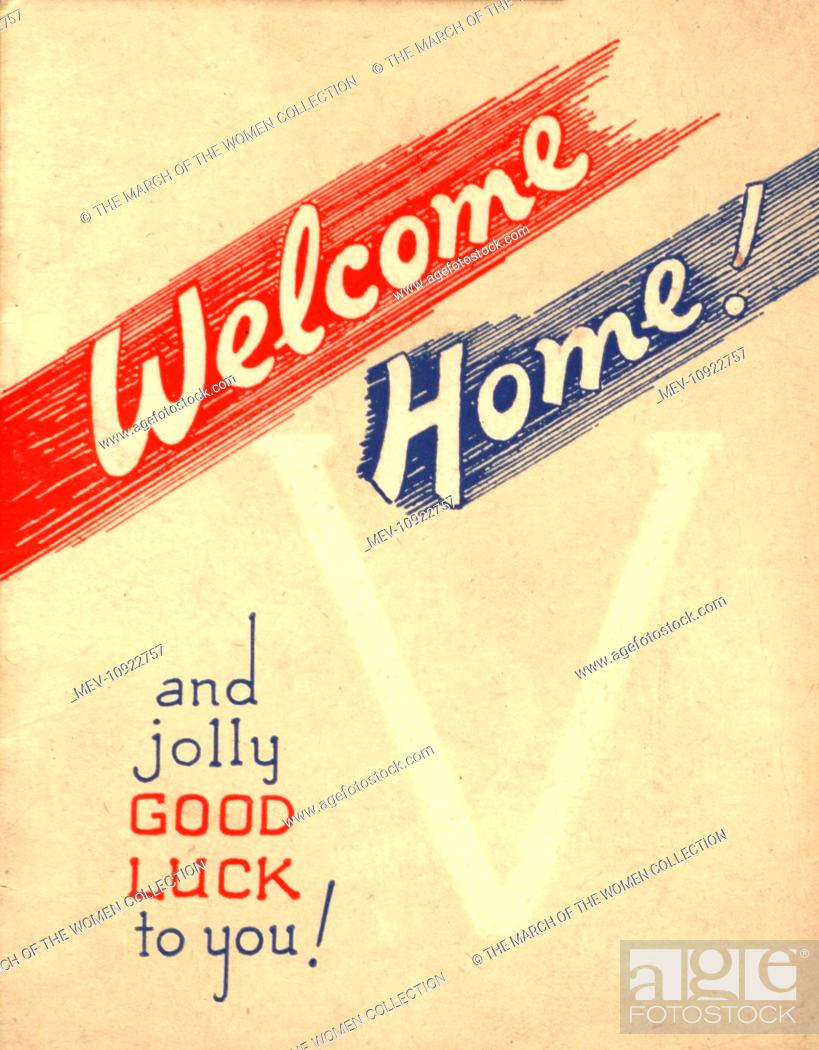 Ww2 greetings card welcome home and jolly good luck to you stock stock photo ww2 greetings card welcome home and jolly good luck to you m4hsunfo