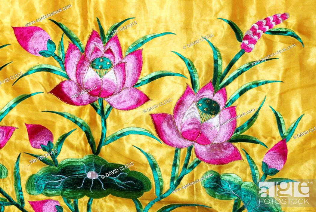 Ornately Embroidered Alter Cloth With Lotus Flowers And Leaves At