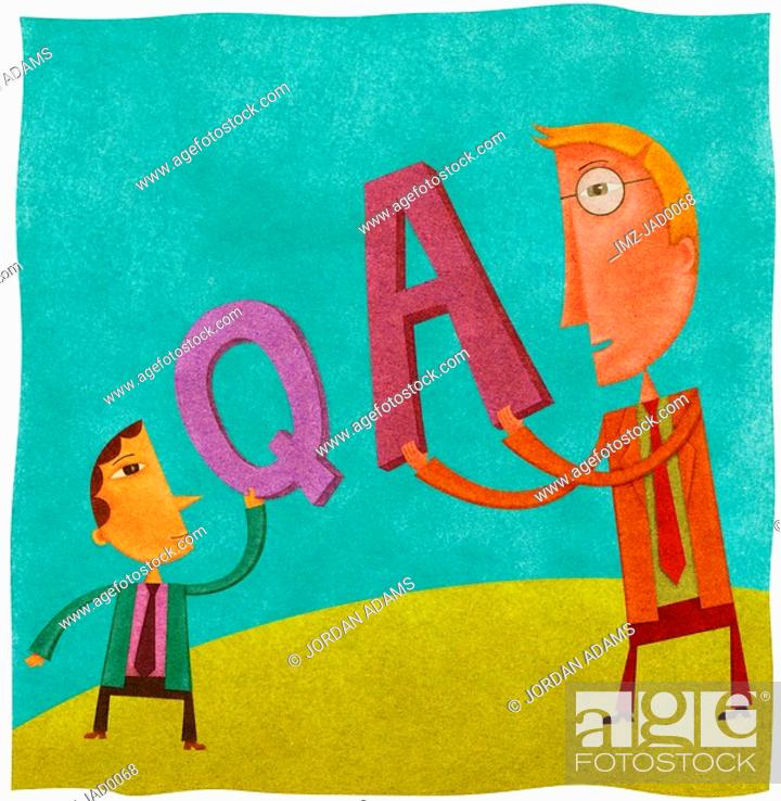 Stock Photo: A small businessman holding a Q for question and a large businessman holding an A for answer.