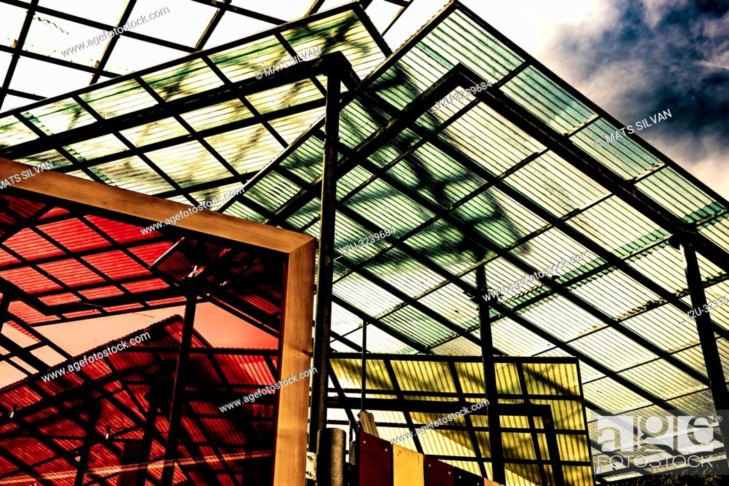 Stock Photo: Modern Colorful Glass Roof in Switzerland.