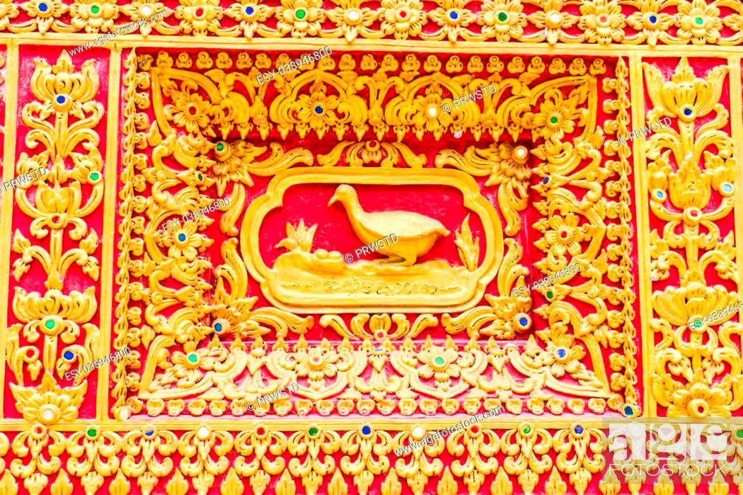 Stock Photo: duck Wall sculpture in Thai temple.