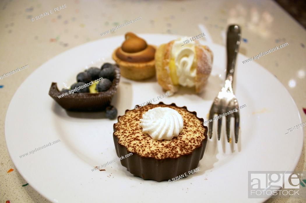 Stock Photo: Creations from the dessert buffet at Caesars Palace, Las Vegas, Nevada, United States.