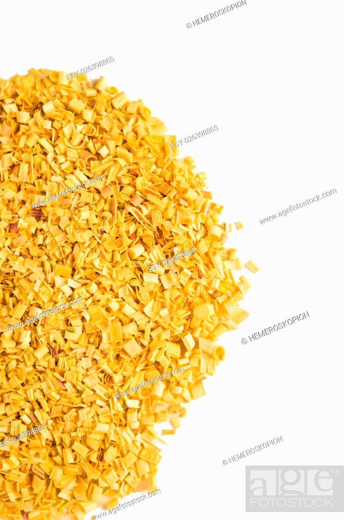 Stock Photo: Heap of dehydated citronella isolated on white.