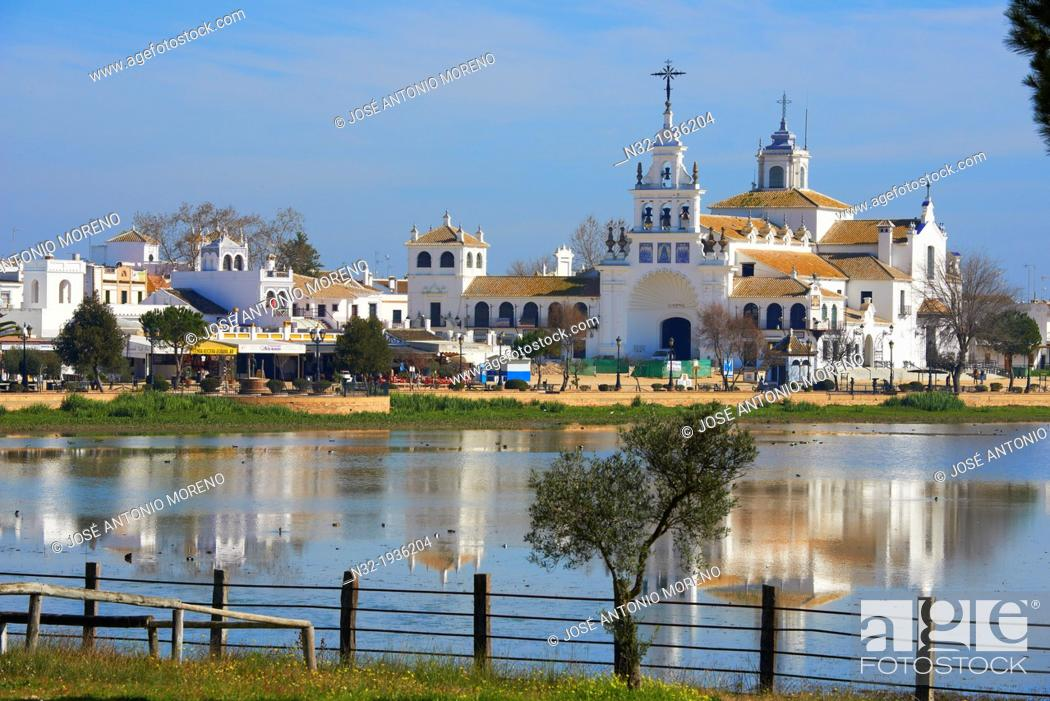 Stock Photo: El Rocio village and Hermitage, Almonte El Rocio, El Rocio Marismas de Doñana, Doñana National Park, Huelva province, Andalusia Spain.