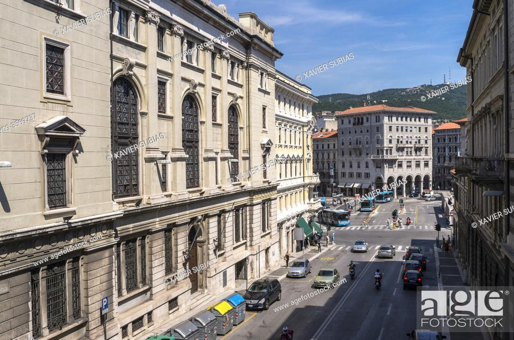 Stock Photo: View at street, Trieste, Italy.