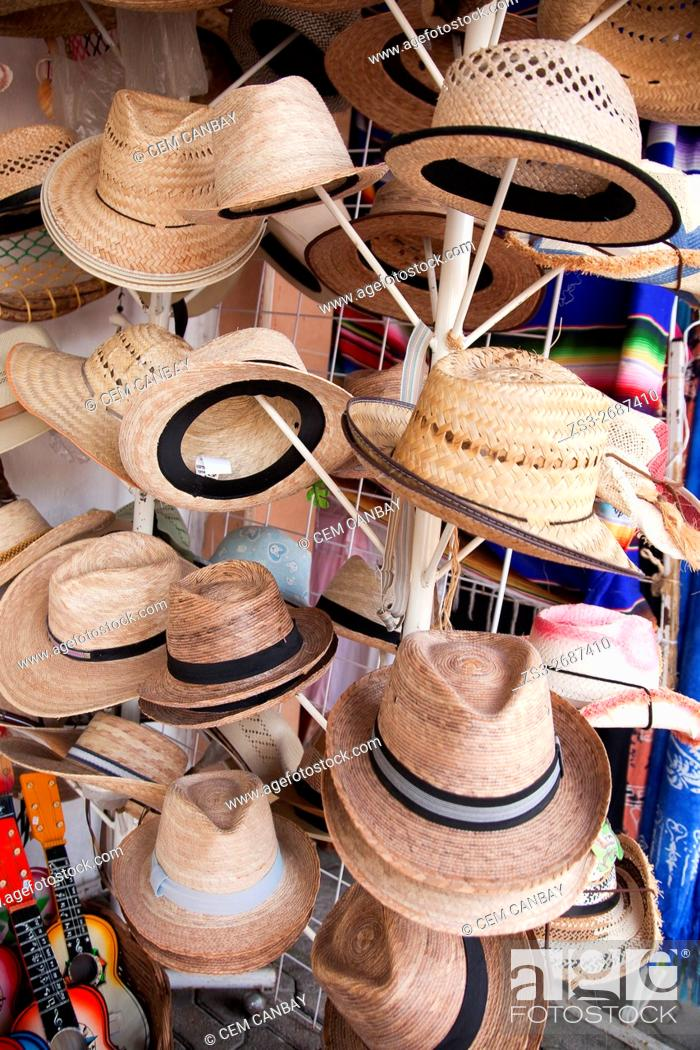 1f2aa1cefd2a6f Stock Photo - Popular straw hats for sale in a shop at the town center,  Tulum, Quintana Roo, Yucatan Province, Mexico, Central America.