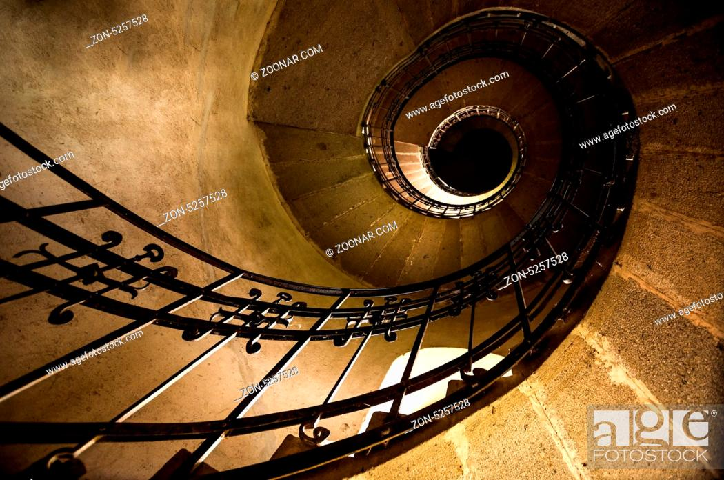 Stock Photo: Round stairs in a church angle shot.