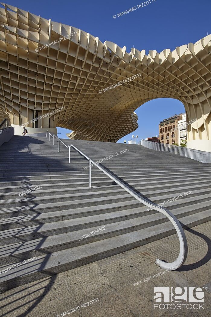 Stock Photo: The wooden structure of the Metropol Parasol in Seville, Spain.