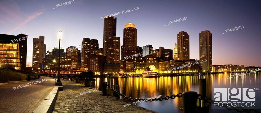 Stock Photo: Panoramic view of the city of Boston at dusk from Fan Pier, Massachusetts, USA.