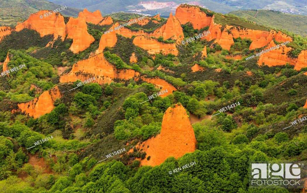 Stock Photo: Las Medulas, Leon Province, Castile and Leon, Spain. The Roman gold mining site of Las Medulas is a UNESCO World Heritage Site.