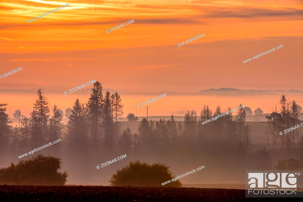 Stock Photo: traditional fall landscape, Central europe. Foggy and misty sunrise landscape, Czech Republic.