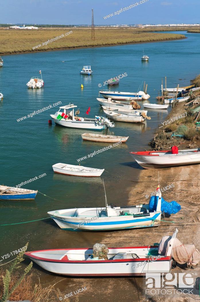 Stock Photo: Canela neighborhood, Boats in the Estero de Plata, Ayamonte, Huelva-province, Spain.