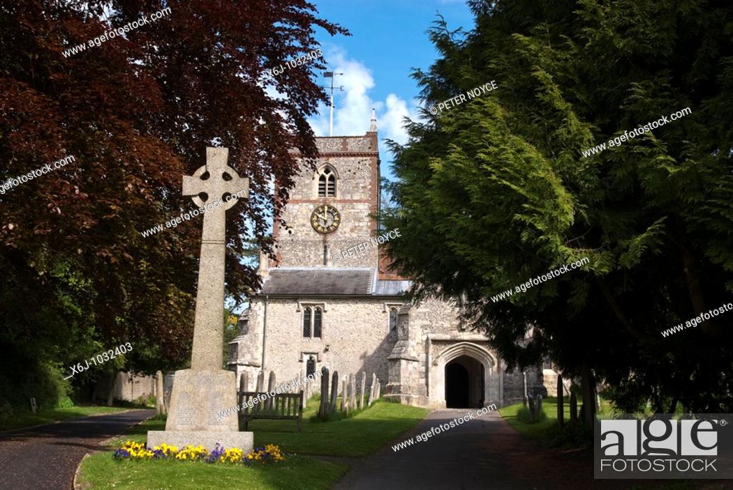 Stock Photo: The Parish Church of St Peter and St Paul Hambledon Church.