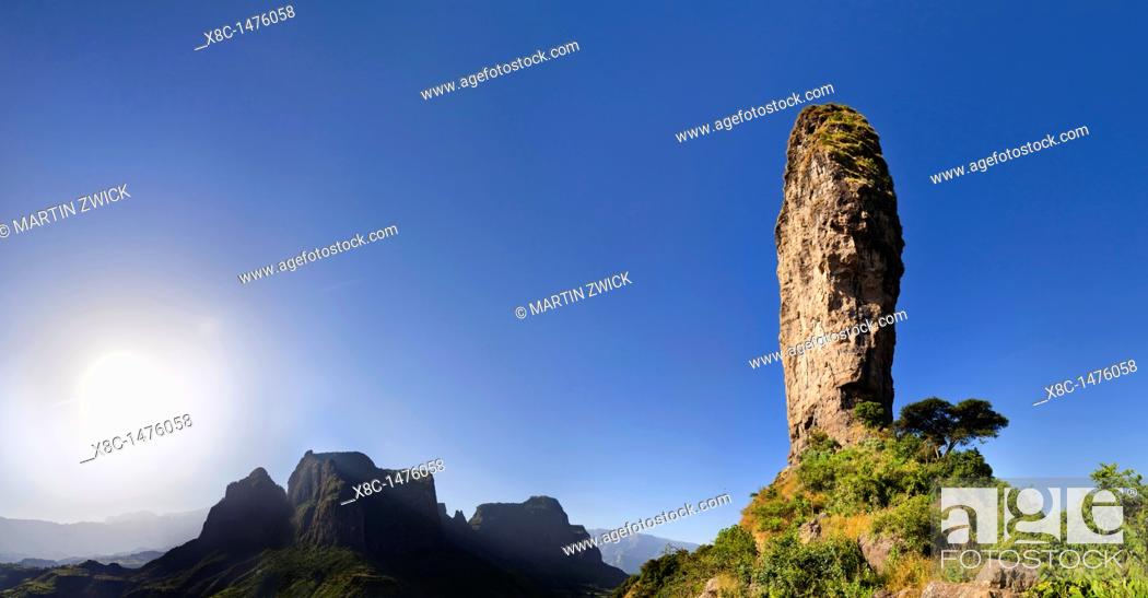 Stock Photo: Panorama of a landscape of the buttes of Mulit near the Escarpment of the Simien Mountains at about 2000m during the end of the rainy season close to the Simien.