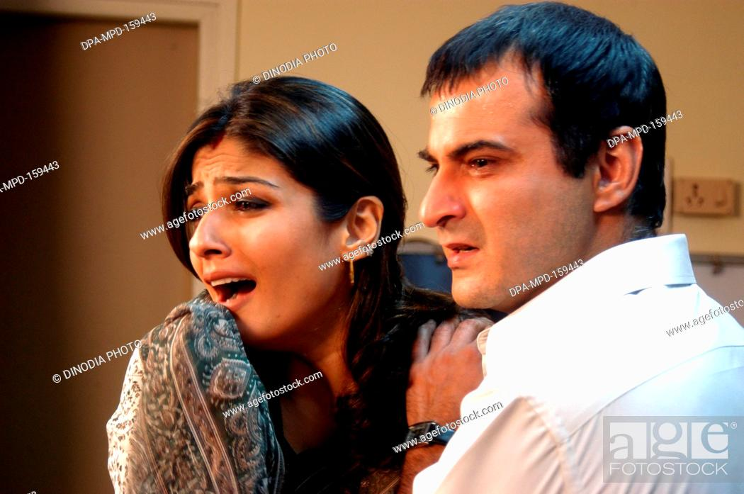 Indian Film Actor And Actress Raveena Tandon And Sanjay Kapoor